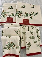 Set Of 8 Lenox Holiday Holly Berry Christmas Bath Hand Tip Towels Gold Glitter