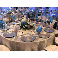 Set Of 12 Silver Lacquer Decorative Charger Dinner Dining Under Plates Wedding