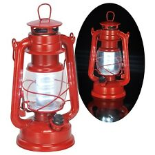Dimmbare LED Sturmlampe Sturmlaterne mit 16 weißen LEDs im Öl-Lampen-Design rot