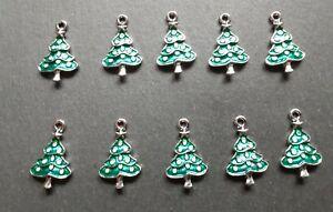 10 x Christmas Tree Charms, Enamel Charms, Pendant Charms Earrings Jewellery