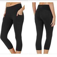 RBX Womens NWT Capri High Waisted Active Leggings Side Leg Pockets Size M BLK