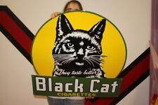 "Large Black Cat Cigarettes Tobacco Gas Oil 30"" Porcelain Metal Sign"
