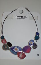 desigual halskette anhänger emaille 61g55b5 kragen chapas happy bazar pink