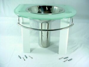 New Decolav Frosted White Tempered 12mm Glass Top Vanity w/ Stainless Sink Bowl