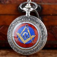 Silver Masonic Vintage Pocket Watch Chain Quartz Movement Pendant Necklace Gift