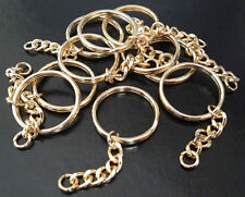 10 x Premium Key Rings 30mm Split Ring & Curb Chain Gilt Plated craft Blank LGW
