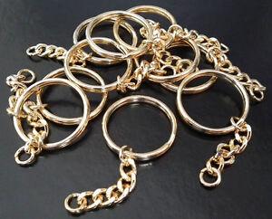 10 x Premium Key Rings 30mm Split Ring & Curb Chain Gilt Plated craft Blank LGW