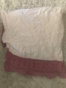 Crochet Bed Skirt Dust Ruffle Queen Rose Farmhouse Pillow Shams
