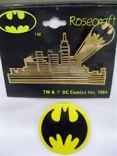 Vtg New Batman Gotham City Gold Skyline & Batman Logo Pin DC Comics 1964 Pin