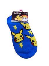 Pokemon Pikachu No-shows Toddler Children's Socks Size 6-8 1/2 blue 1 Pair