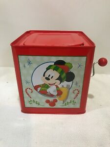 Disney Mickey Mouse Tin Christmas Deck the Halls Jack in the Box 2018 Gemmy