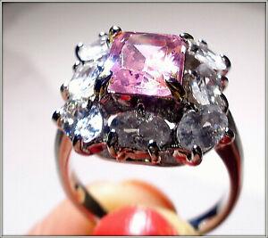 18k White Gold over unique High grade Pink Kunzite Diamond Ladys Ring Size 9