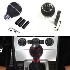 Universal Silver Leather Car 5-Speed Gear Shift Knob Stick Manual Shifter Lever