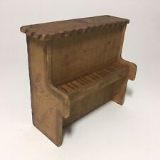 Rare Antique Wood Dollhouse Toy Piano - Candy Container Flemish Art Pyrography