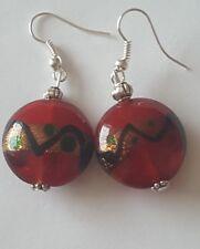 Lampwork drop dangle, silver plated earrings red gold 20mm tibetan beads(93)