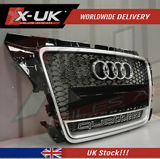 "FRONT GRILL GLOSS BLACK / SILVER EDGE ""QUATTRO""  FOR AUDI A3 S3 TO RS3 2009-2012"