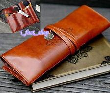 Retro Vintage Pencil Pen Case Cosmetic Pouch Leather Makeup Bag Pocket Holder IF