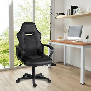Computer PC Desk Chair Gaming Chair Racing Office PU Chair Swivel ChairBlack UK