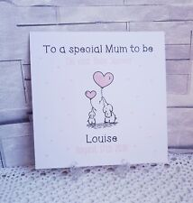 Handmade Personalised Baby Shower Card Mum to Be - Baby Pink - Girl