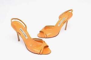 "MANOLO BLAHNIK Tangerine Leather X Strap Elastic Slingback 4-3/8"" Heels Sz EU 40"
