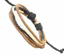Brown Leather Strap Surf Surfer Wristband Bracelet Cream & Black Coloured Cord