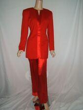 ESCADA COUTURE 36 6 GORGEOUS RED Satn/Silk Wool Vintage Womens Pants Blazer Suit