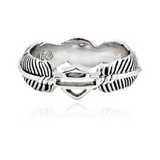HDR0409 Harley-Davidson® Womens .925 Silver Boho Feather with B&S Ring Size 6