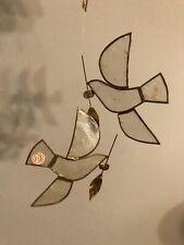 2 Vtg Capiz Shell Xmas Ornament Sun-Light Catcher-Hanging Dove Birds