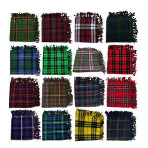 "Scottish Kilt Fly Plaid 48"" X 48"" Various Acrylic Wool Tartans Piper Fly Plaids"