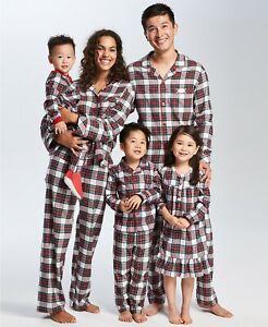 Family Matching Christmas Pajamas Set Baby Kids Sleepwear- White Stewart Plaid