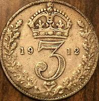 1912 GREAT BRITAIN SILVER THREEPENCE COIN