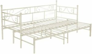 Daybed with Trundle Sofabed Metal Bed Frame Bedstead Guest Bed Frame Sofa Bed