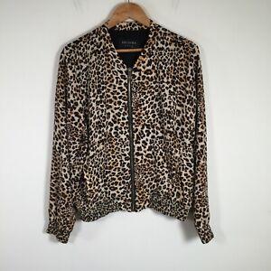 Decjuba womens bomber jacket size 14 brown leopard print long sleeve