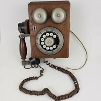 Western Electric Oak Wood Vintage Wall Rotary Dial Telephone - Original Antique