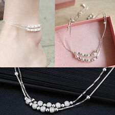 Chain Anklet Sandal Beach Foot Jewelry Women Ankle Bracelet Barefoot Silver Bead