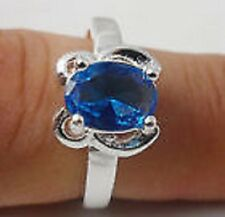 Simple fashion 1pcs S80 silver crystal women CZ Gemstones rings Size9 (R1/2)