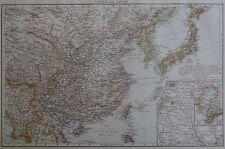 Victorian Mappa 1896 DELLA CINA & GIAPPONE il Times ATLAS 1st Gen