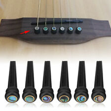 6pc Ebony Pins With Abalone Shell Dot for 6 String Acoustic Folk Guitar D