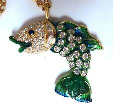 10.12ct Natural Sapphire Emerald & Diamonds Enamel Fish Pendant 18kt