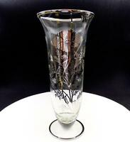 "SILVER CITY GLASS CO FLANDERS STERLING SILVER OVERLAY 9 3/4"" FLOWER VASE"