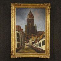 Dipinto olio su tela quadro olandese stile antico impressionista paesaggio 900