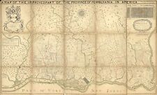 """14"""" x 24"""" 1846 Map Of Pennsylvania Province Names Of Original Purchasers"""