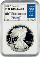 2002 American Silver Eagles W PF 70 Ultra Cameo signed by Rhett Jeppson