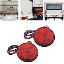2x Round Reflector Red 24 LED Rear Tail Stop Brake Marker Light #L Truck Trailer