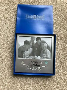 VINTAGE NEW: PHOTO FRAME '60th'  BIRTHDAY NEVER USED  MATT SILVER COLOUR METAL