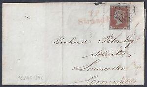 UK GB 1842 POSTAL HISTORY SG 12 TIED MALTESE CROSS IN BLACK & TP STRAND IN RED