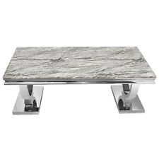 Modern Stainless Steel Rectangle Coffee Table Tea Desk Grey Marble Top Furniture