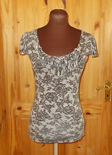 OASIS black grey lace effect stretch short cap sleeve tunic top XS 6-8 34-36