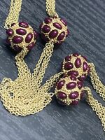 Vintage Necklace Eggplant Purple Unusual Beaded Long Sweater Length Gold Tone