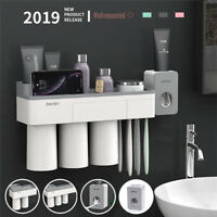 AM_ TOOTHPASTE TOOTHBRUSH HOLDER MAGNETIC CUP STORAGE RACK BATHROOM WALL MOUNT S